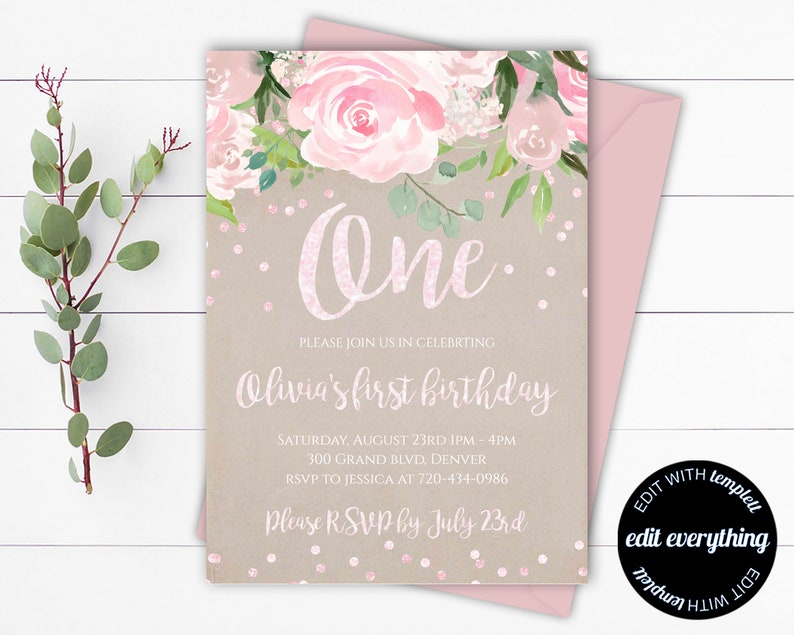 Pink Floral First Birthday Invitation Template 1st