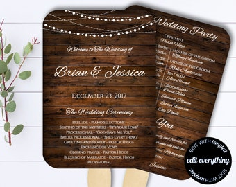 Country Wedding Program Fan Template - Rustic Wedding Program - Printable Program Template - DIY Wedding Program - Barn Wedding fan program