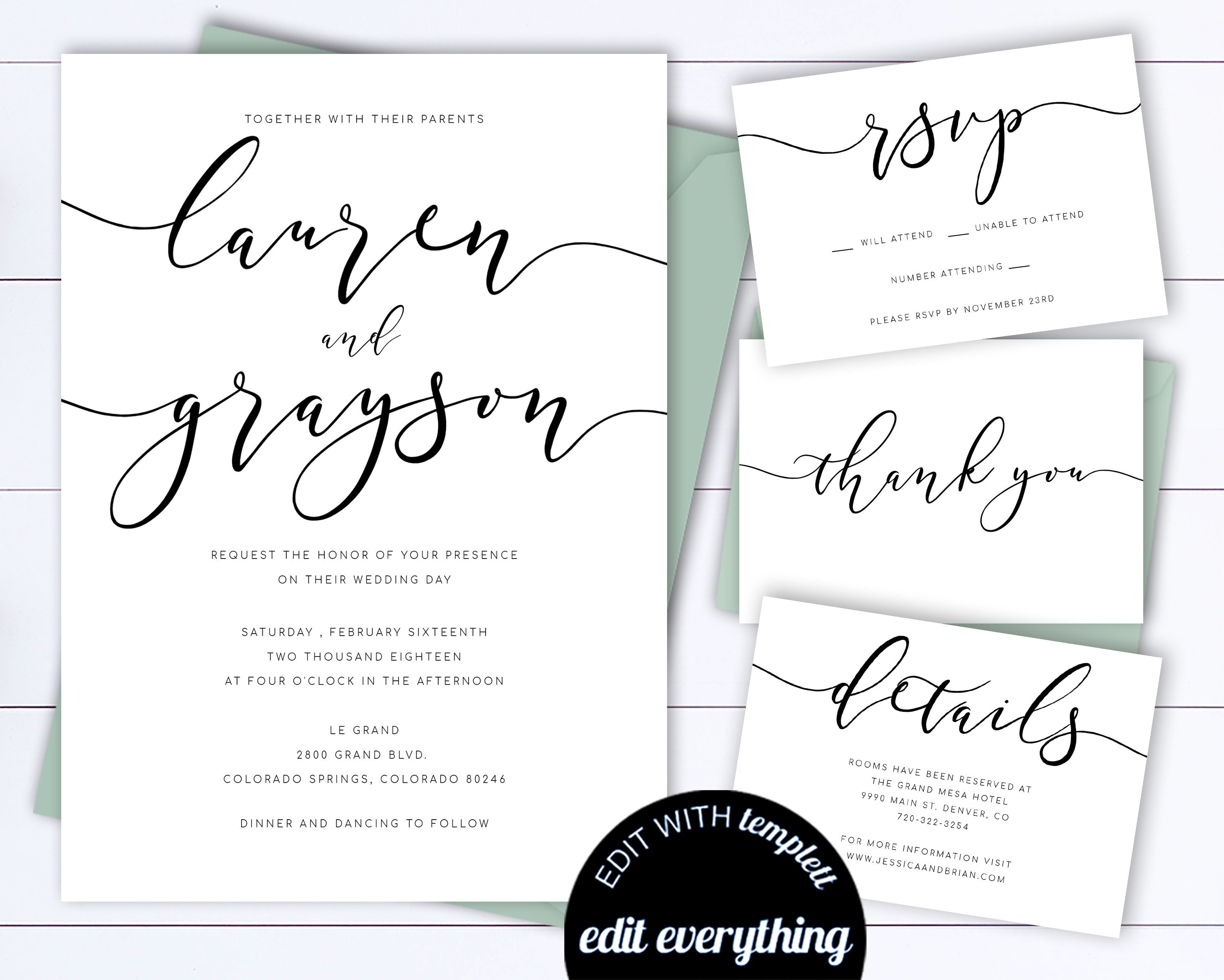 Wedding Invitation Template Modern Suite Simple Set Printable Black And White