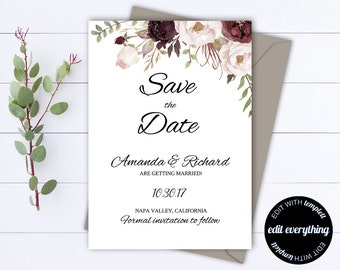 Floral Save the Date Wedding Template - Floral Wedding Save the Date - Rustic Save the Date Invite - Printable Save Date - Save Our Date
