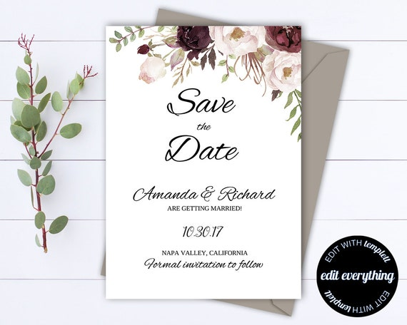 Floral Save The Date Wedding Template Floral Wedding Save Etsy