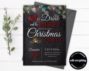 Rustic Christmas Party invitation template Printable