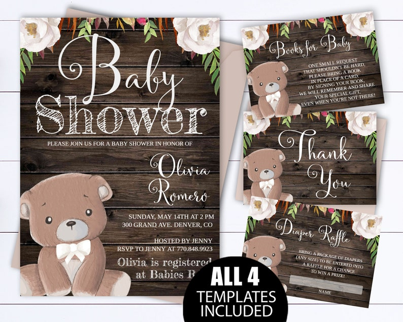 b936bb6ce10 White Floral Bear Baby Shower Invitation Template Teddy Bear
