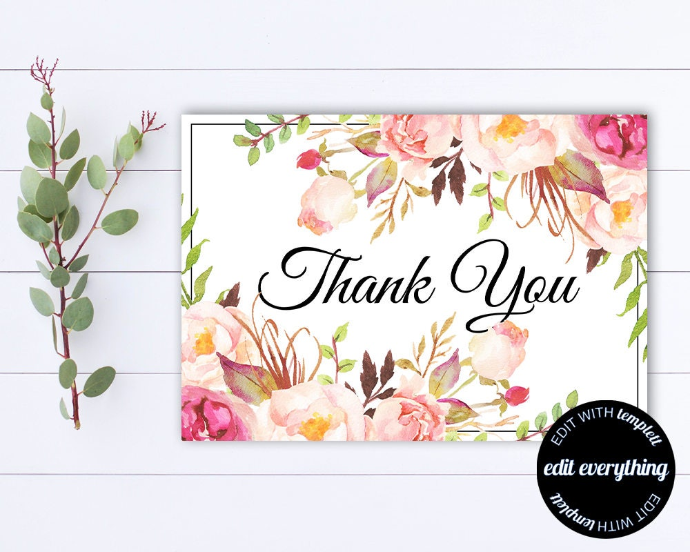Floral Thank You Card Thank You Template Printable Thank Etsy