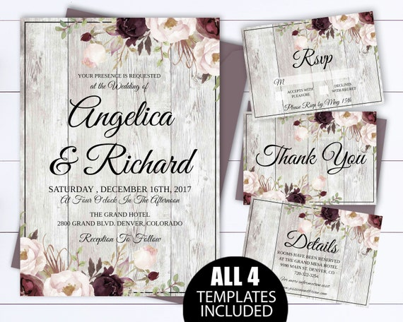 rustic wedding invitation template rustic country wedding etsy
