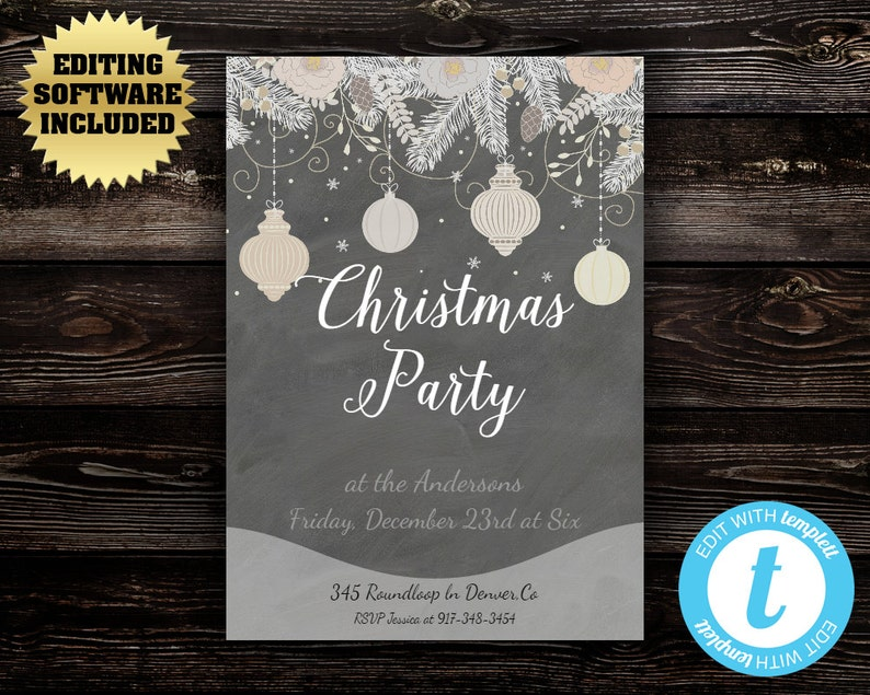 Vintage Christmas Party Invitation Template Holiday Invite Instant Download Printable Chalkboard