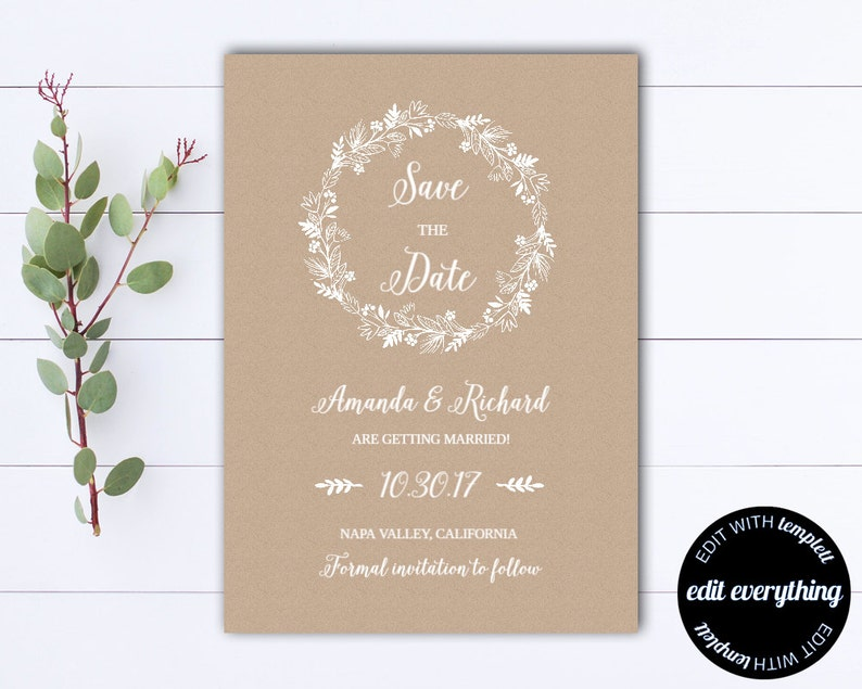 Kraft Save the Date Wedding Template DIY Save the Date Card Kraft Paper Save the Date Invite Printable Save Date Instant download