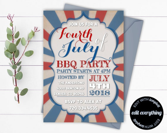 4th Of July Party Invitation 4th Of July Printable Party Etsy