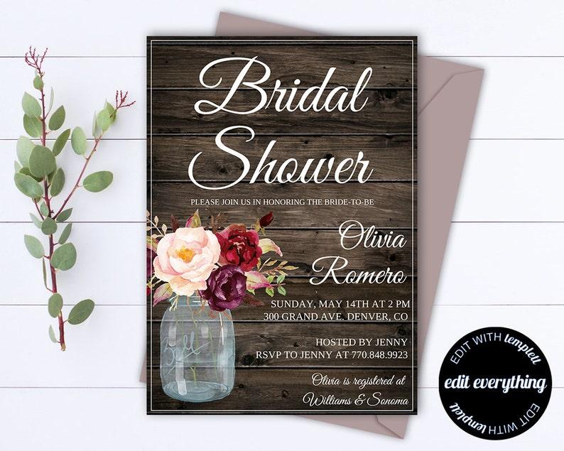Rustic Bridal Shower Invitation  Country Bridal Shower Invite image 0