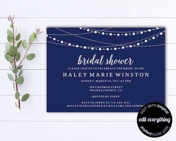 Navy blue bridal shower invitation template bridal shower filmwisefo