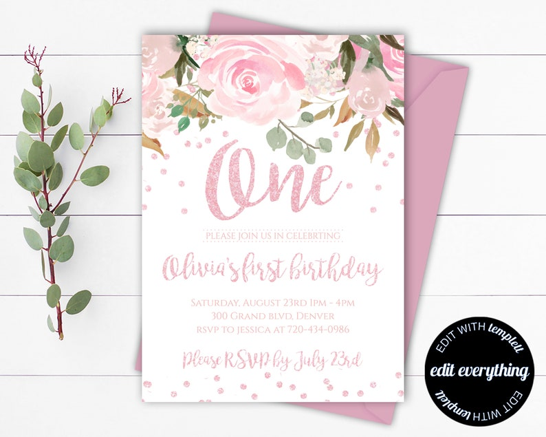 Pink Floral First Birthday Invitation Template Pink Floral 1st Etsy