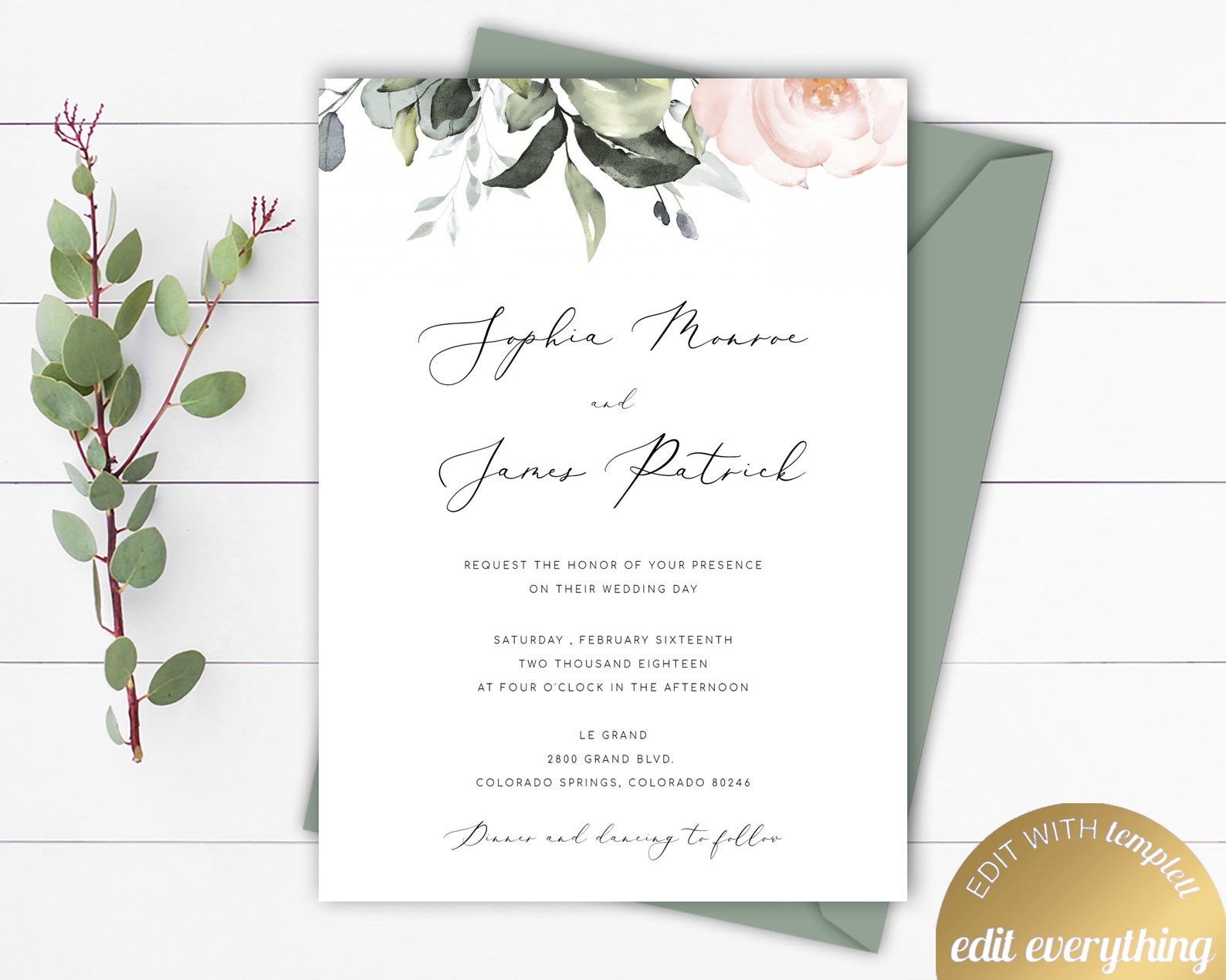 Blush Floral Wedding Invitation Templates