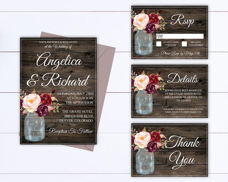 Rustic Invitation Wedding Template Instant Download Printable Invitation Rustic Wedding Invitation Template Country Wedding Template