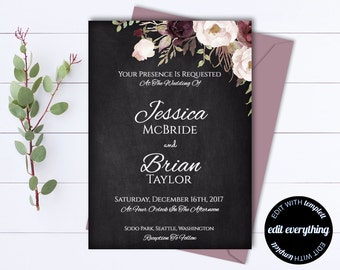 Floral Wedding invitation Template - Floral Wedding Printable Invitation - Instant Download Wedding Invitations - Printable Invitation