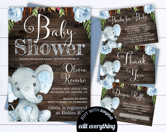Rustic Baby Shower Invitation Template Boy Baby Shower Invite Etsy