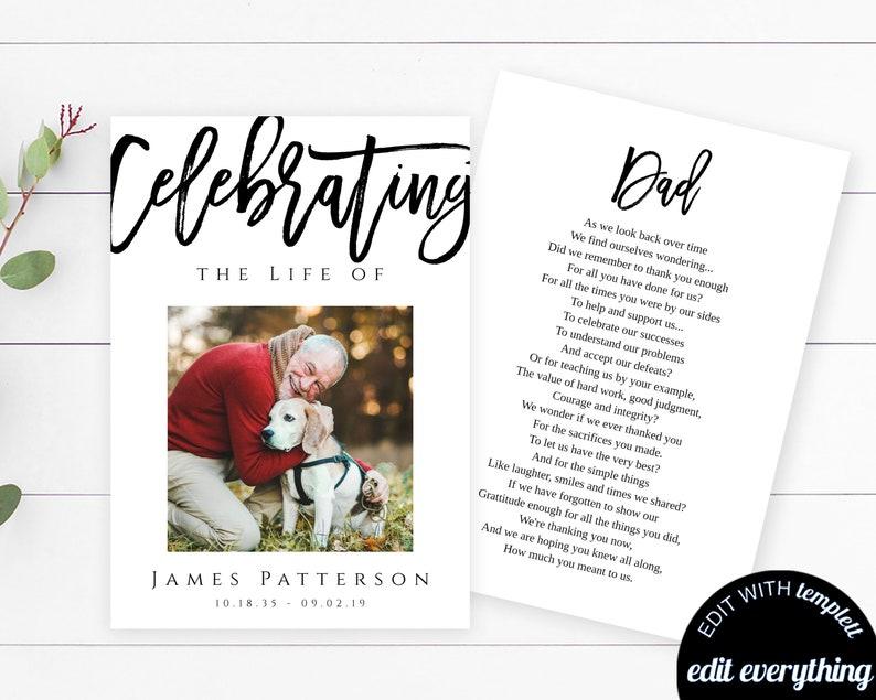 Modern Funeral Prayer Card Template Printable Memorial Prayer Card Template  Editable Funeral Prayer Card Modern Catholic Mass Card Simple