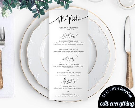 diy wedding menu template printable wedding menu cards menu etsy