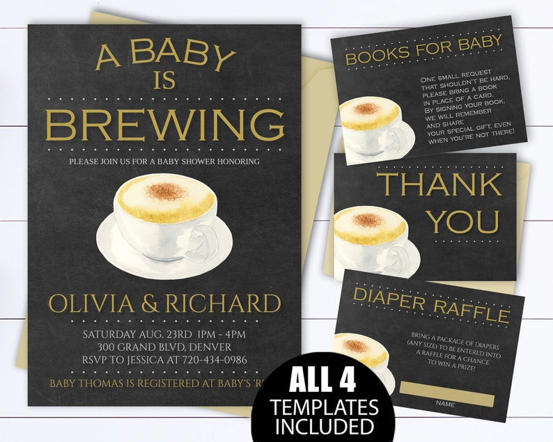 A Baby Is Brewing Shower Invitation Template Coffee Invite Coed