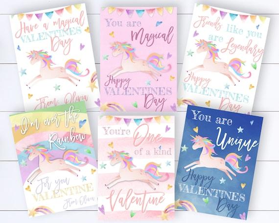 Unicorn Kids Valentines Card Template Classroom Valentines