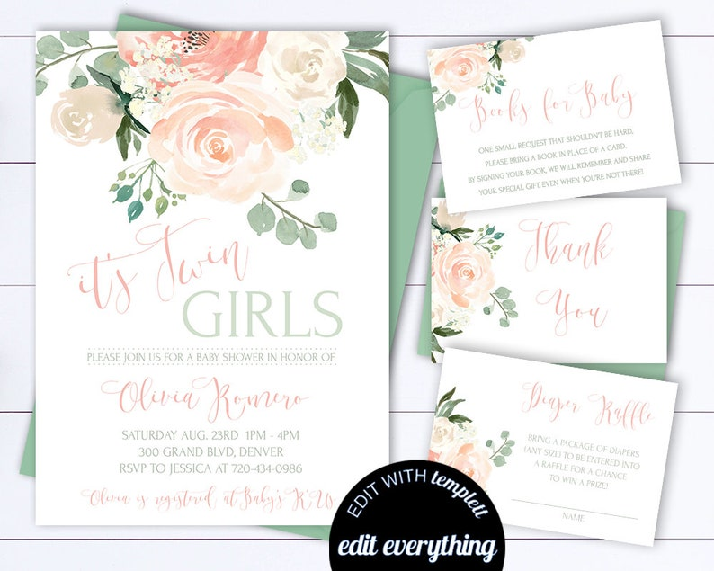 Floral Twins Baby Shower Invitation Template Twin Girls Baby Etsy