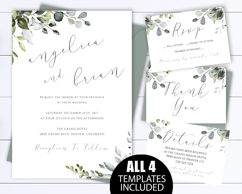 Eucalyptus Greenery Wedding Invitation Template Green Leaves Set