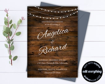 Country Wedding Invitation Template - Southern Wedding Invitations - Barn Wedding invitation - Rustic Wedding Set - String lights - PDF