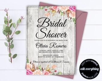 Rustic Bridal Shower Invitation Template - Bridal Shower Invite - Floral Bridal Shower Printable Invitation - Rustic wedding shower invite