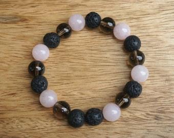 Rose Quartz + Smokey Quartz + Lava Bead