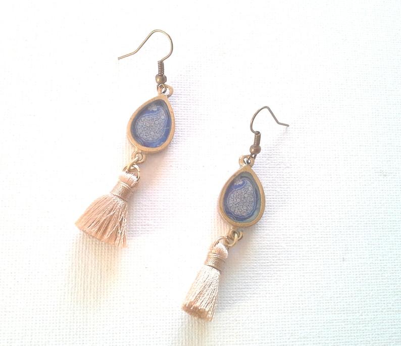 Made in Canada Teardrop Earring Persian Style Jewelry Turkish Jewelry Blue Resin earrings Gold Raw Brass