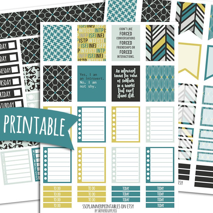 Introvert PRINTABLE Planner Stickers for Erin Condren Vertical | Sticker  Printables | Introverting | Geek Stickers | Myers Briggs Stickers