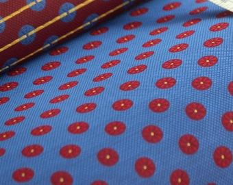 "31x42 inches piece 100% Silk Fabric 42"" wide Blue Red Ornament Woven Silk F115"