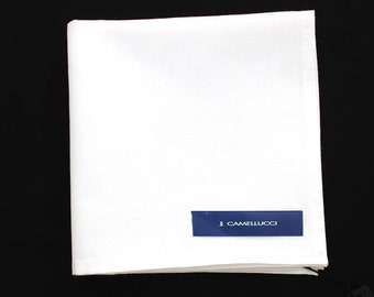 Men's White Cotton Pocket Square Handkerchief Hanky Hankie Squares Tie Suits Men