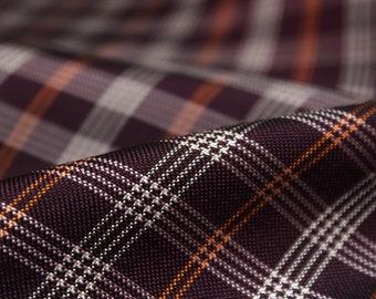 "Piece 27""L x 27""W 100% Silk Fabric Maroon Burgundy White and Orange Plaid Woven Silk F270"