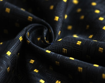 """100% Silk Fabric 24"""" length 27""""wide Black and Yellow fabric Woven Silk #068"""