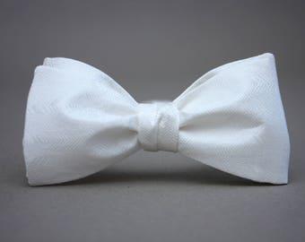 Mens bowtie White Wedding Pure silk men's self tie bow tie Groom Groomsmen gift Gift for him 182s