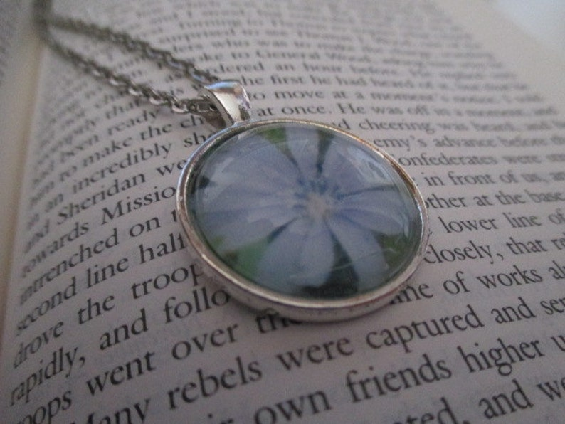 1 Inch Shiny Silver Setting With Matching Small Link Chain Blue Flower Necklace Light BluePurple PA Wildflower Pendant Necklace