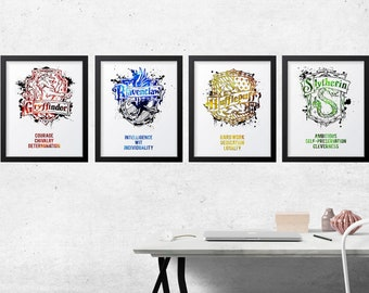 Harry Potter House Traits Set, Posters, Print,Art,Gift,Gryffindor,Hufflepuff,Ravenclaw, Slytherin,Wizard,Witch, Decor, Snape, Always,Nursery