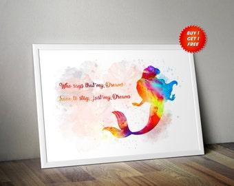 Ariel The Little Mermaid WatercolourPoster Print Under Sea Gift Birthday Disney Sebastian Flounder Dreams Ursula