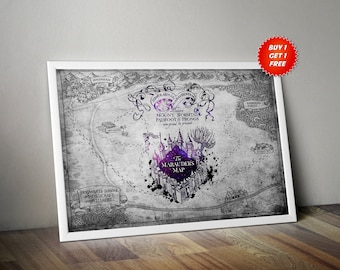 The Marauders Map, Poster, Print, Harry Potter,Footprints,Gift,Hogwarts,Gift,Witch,Wizard,Birthday,Ravenclaw,Slytherin,Hufflepuff,