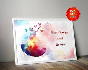 Cinderella, Watercolour,Poster, Print, Nursery, Gift, Birthday,Glass Slipper,Disney,Have Courage, Be Kind, Castle, Princess, For Her, Kids