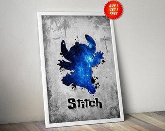 Stitch,Poster, Print, Gift, Disney, Lilo and Stitch, Gift for her, Ohana, Hawaii, Beach, Palm Trees, Hammock, Tropical,Birthday,
