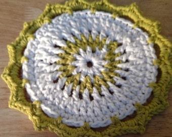 Hand crocheted lotus blossom dishcloth