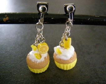 pair of earrings, cupcake, lemon