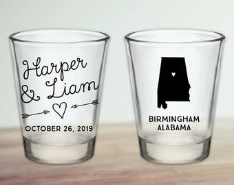 Custom Alabama Wedding Favor Shot Glasses