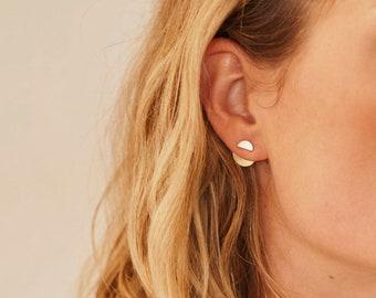MILA minimalist double moon EAR JACKET studs/ear jacket stud/ half moon stud/minimalist earrings/hypoallergenic earrings/nordymade