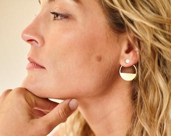 MIRA minimalist segment hoop EAR JACKET studs/earring jacket/half moon studs/minimalist earrings/hypoallergenic earrings/nordymade