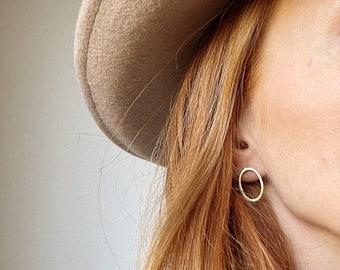 KIRAN MINIMALIST side ways OVAL hoop studs/hoop earrings/ minimalist earrings/circle studs/oval earrings/nordymade/boho earrings