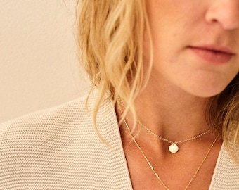 IEVA Tiny HAMMERED Edge COIN necklace/minimalist coin necklace/14K Gold Filled/circle necklace/layering necklace/simple necklace/nordymade