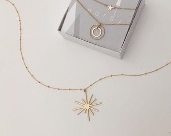 BRITTE MID CENTURY Star Burst Necklace/14k Gold Fill/Satellite chain/statement necklace/mcm jewelry/Satrun chain/layering necklace