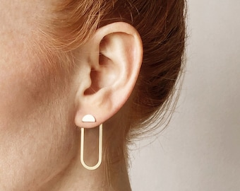 HALLO minimalist EAR JACKETS/mid century earring jacket/art deco jewelry/nordymade/minimalist jewelry/mid century earrings/stud earrings
